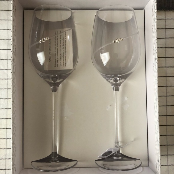 Swarovski crystal wine glasses (2)